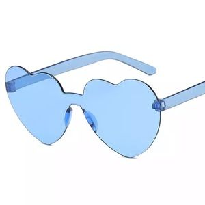 Blue candy heart transparent sunglasses shades